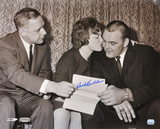Dick Butkus Chicago Bears B & W of Contract Signing Autographed Photo (Hand Signed Collectable)