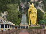 Batu Caves  Hindu Shrine  With Statue of Lord Muruguan  Selangor  Malaysia  Southeast Asia  Asia