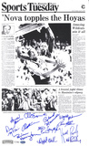 Villanova Wildcats 1985 Team Signed - Philadelphia Enquirer Front Page -  Black and White