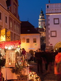 Stalls at Christmas Market With Renaissance Tower  Svornosti Square  Cesky Krumlov  Czech Republic