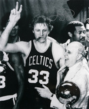 Larry Bird Boston Celtics Cigar Celebration with Red Auerbach  Black and White