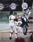 Pete Rose and Bob Boone  with Rose 1980 WS Champs Inscription