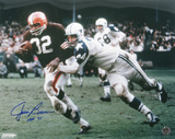 Jim Brown Cleveland Browns with HOF 71 Inscription Autographed Photo (Hand Signed Collectable)