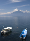 Tour Boats Anchored Near Panajachel  San Pedro Volcano in the Background  Lake Atitlan  Guatemala
