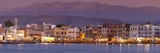 Harbour at Dusk and White Mountains  Chania  Crete  Greek Islands  Greece  Europe