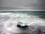 Piece of Glacial Ice Washed Ashore By the Incoming Tide Near Glacial Lagoon at Jokulsarlon  Iceland