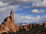 Sandstone Rock Formations in the Windows Region of Arches National Park  Near Moab  Utah