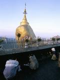 Worshippers Praying at Kyaiktiyo Pagoda (Golden Rock Pagoda)  Mon State  Myanmar (Burma)  Asia