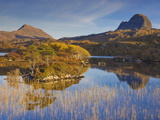 Two Mountains of Suilven and Canisp From Loch Druim Suardalain  Sutherland  North West Scotland