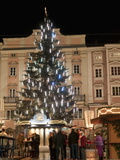 Christmas Tree  Baroque Building and Stalls at Christmas Market  Linz  Austria
