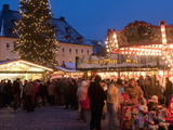 Christmas Market With Stalls  People and Christmas Tree  Markt Square  Annaberg-Bucholz  Germany