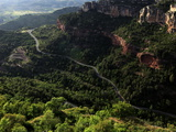 View Across the Limestone Ravine Beaneath the Medieval Village of Siurana  Catalonia  Spain