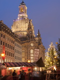 Christmas Market Stalls in Front of Frauen Church and Christmas Tree at Twilight  Dresden