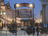 Main Entrance to Christkindlmarkt (Christmas Market)  Marktstrasse at Twilight  Bavaria