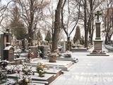 Snow-Covered Cemetery  Village of Treboradice  Prague  Czech Republic  Europe