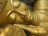 Detail of Statue of Buddha  Phu Si Hill  Luang Prabang  UNESCO World Heritage Site  Laos  Indochina
