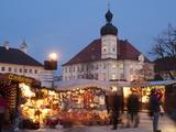 Christmas Market (Christkindlmarkt) Stalls and Town Hall  Kapellplatz  Bavaria