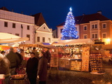 Christmas Market Stalls and Christmas Tree  Svornosti Square  Cesky Krumlov  Czech Republic