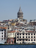 Galata Tower in Background  the Bosporus  Istanbul  Turkey  Europe