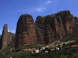 Village of Riglos Below Huge Conglomerate Towers Above the Plains  Northern Aragon  Spain