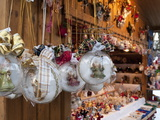 Christmas Decorations of Angels in Glass Balls at Stall  Christmas Market at Schlosspark  Austria