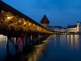 Chapel Bridge at Dusk  Lucerne  Switzerland  Europe