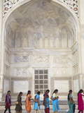 Indian Women Standing in Line at Taj Mahal  UNESCO World Heritage Site  Agra  Uttar Pradesh  India