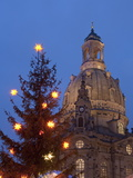 Christmas Tree and Frauen Church at Christmas Market at Twilight  Dresden  Germany