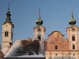 Towers of Baroque Michaelerkirche Church Dating From 1635  at Sunset  Michaelerplatz  Austria