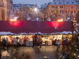 Stalls at Christmas Market in the Evening  Old Town Square  Stare Mesto  Prague  Czech Republic