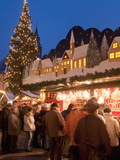 Christmas Market With Decorated Stall  People and Christmas Tree  Annaberg-Bucholz  Germany