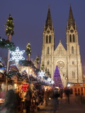 Stalls of the Christmas Market  Christmas Tree and Neo-Gothic St Ludmilla Church  Prague