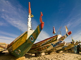 Colourful Fishing Boats at the Fishing Habour  Nouakchott  Mauritania  Africa