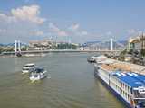 View of Elizabeth Bridge (Erzebet Hid)  and Cruise Boats on the River Danube  Budapest  Hungary