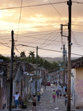 View Along Traditional Cobbled Street at Sunset  Trinidad  Cuba  West Indies  Central America