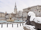 Trafalgar Square in Winter Snow  London  England  United Kingdom  Europe