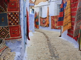Traditional Moroccan Rugs and Fabrics on Display  Chefchaouen  Morocco  North Africa  Africa