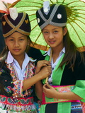 Young Hmong Women in Traditional Dress  Lao New Year Festival  Luang Prabang  Laos  Indochina
