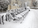 Rows of Hire Bikes in Snow  Notting Hill  London  England  United Kingdom  Europe