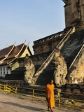 Monk Walking Past Wat Chedi Luang  Chiang Mai  Thailand  Southeast Asia  Asia