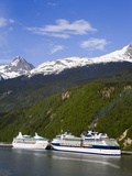 Cruise Ships Docked in Skagway  Southeast Alaska  United States of America  North America