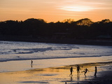 People Playing Football on the Beach at La Libertad  Pacific Coast  El Salvador  Central America