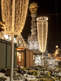 Snow-Covered Flowers  Christmas Decorations and Baroque Trinity Column at Christmas Market  Austria