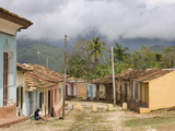 View Along Old Street Against Backdrop of Cloud-Covered Hills After Heavy Rainfall  Trinidad  Cuba