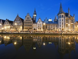 Night Time Reflection of Waterfront Town Houses  Ghent  Flanders  Belgium  Europe