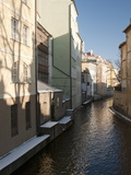 Snow-Covered Section of Certovka Canal Known As Prague's Venice  Mala Strana  Prague