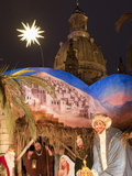 Nativity Scene at Christmas Market in Front of Frauen Church  Innere Altstadt  Dresden  Germany