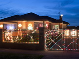 Christmas Decoration of Melbourne Suburban House at Twilight  Altona Suburb  Australia