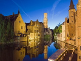 Reflection in Canal of Belfort (Belfry Tower)  Old Town  Bruges  Flanders  Belgium