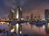 San Diego Marina and Skyline at Dusk  California  United States of America  North America